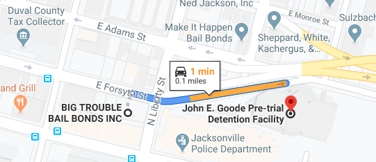 google map of jail 1 minute away